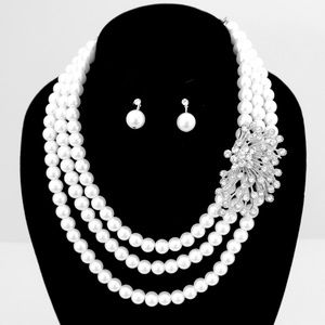 Audrey Styled Bridal SIDE Crystal Pearl Necklace